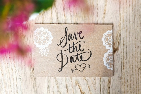 Rustic Chipboard Lace Wedding Save the Dates Allie Peach 550x366 Catherine + Adams Rustic Chipboard and Lace Save the Dates