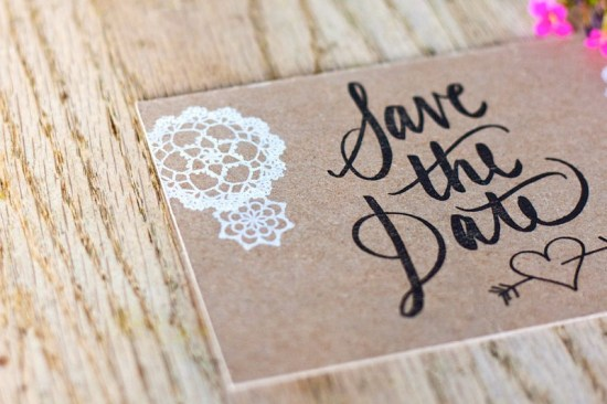Rustic Chipboard Lace Wedding Save the Dates Allie Peach5 550x366 Catherine + Adams Rustic Chipboard and Lace Save the Dates
