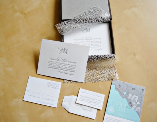 Silver Metallic Letterpress Wedding Invitations Wiley Valentine6 550x427 Eve + Mikes Metallic Silver New Years Eve Wedding Invitations