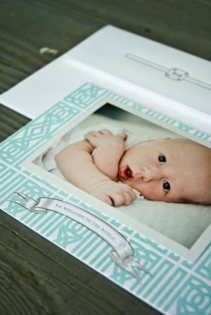 Southern Classic Monogram Letterpress Birth Announcements3 300x447 Classic Monogram Birth Announcements for Baby Rhett