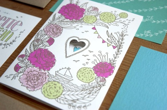 Heart Floral Illustrated Wedding Invitations 550x365 Annette + Florians Illustrated Floral Wedding Invitations