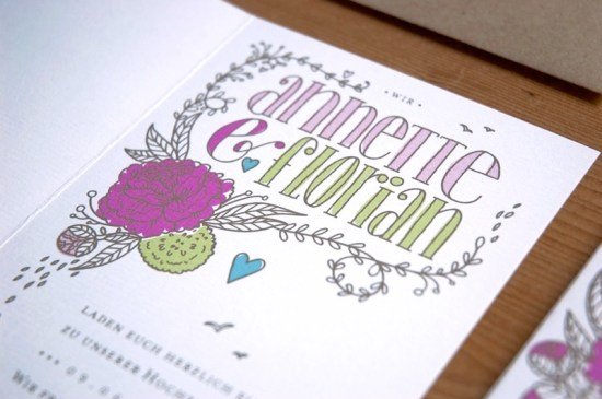 Heart Floral Illustrated Wedding Invitations2 550x365 Annette + Florians Illustrated Floral Wedding Invitations