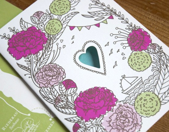 Heart Floral Illustrated Wedding Invitations8 550x429 Annette + Florians Illustrated Floral Wedding Invitations
