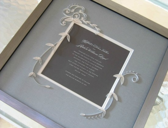 Quilled Wedding Invitation Framed Ann Martin4 550x419 Quilled and Framed Wedding Invitation by Ann Martin