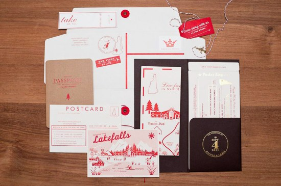 Red White Travel Inspired Wedding Invitations 7 550x365 Nicole + Chriss Modern Travel Inspired Wedding Invitations