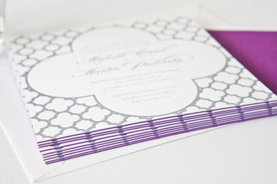 Classic Purple Wedding Invitations Edge Painting Courtney Callahan Paper8 550x366 Michelle + Martins Classic Purple Edge Painted Wedding Invitations