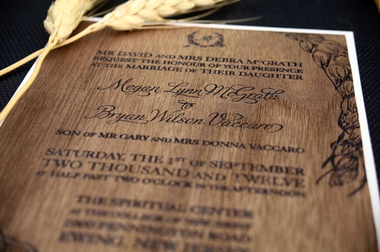DIY Wood Veneer Wedding Invitations4 550x366 Meg + Bryans DIY Wood Veneer Wedding Invitations