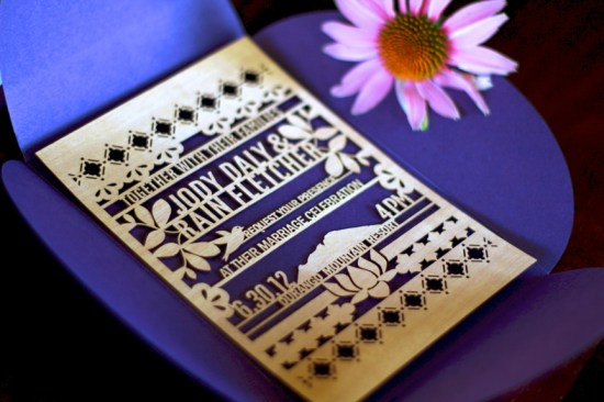 Lasercut Wood Wedding Invitations Kate Holgate 550x366 Jody + Rains Eastern Inspired Lasercut Wood Wedding Invitations