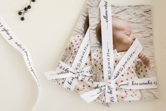 Tokketok Calligraphy Ribbon Photo Baby Announements 550x366 Creative Birth Announcement Ideas