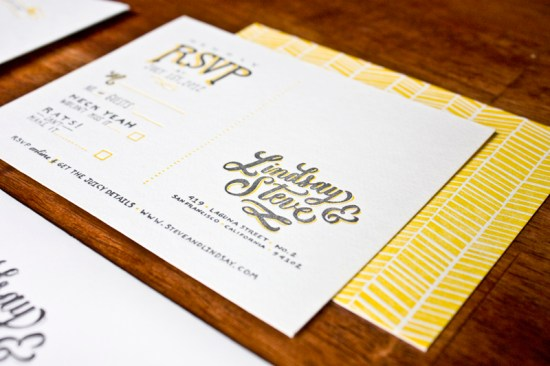 Yellow Gray Hand Lettered Wedding Invitations Molly Jacques 550x366 Lindsay + Steves Hand Lettered Wedding Invitations