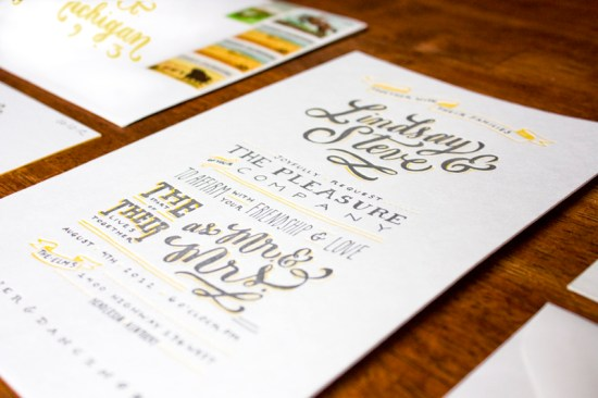 Yellow Gray Hand Lettered Wedding Invitations Molly Jacques4 550x366 Lindsay + Steves Hand Lettered Wedding Invitations