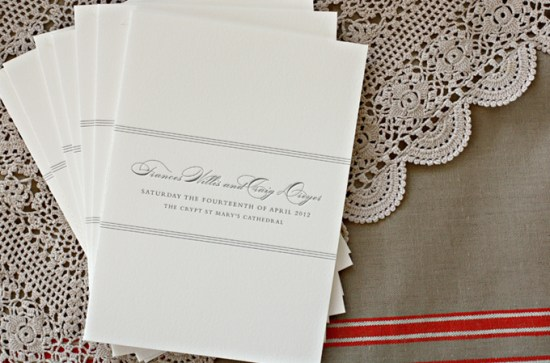 Class Black and White Stripe Ceremony Program Bespoke Press 550x363 Wedding Stationery Inspiration: Black + White Stripes