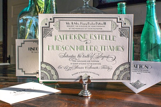 Lucky Luxe Couture Correspondence Gatsby Letterpress Wedding Invitations2 550x366 Great Gatsby Inspired Art Deco Wedding Invitations