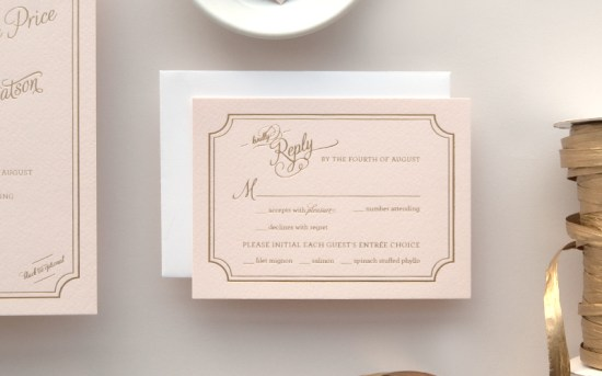 Pink Gold Foil Letterpress Wedding Invitations Daily Sip Studios4 550x343 Lindsey + Bradleys Elegant Pink and Gold Foil Wedding Invitations