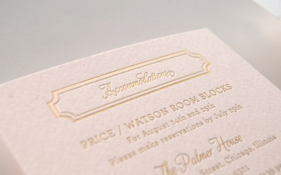Pink Gold Foil Letterpress Wedding Invitations Daily Sip Studios5 550x343 Lindsey + Bradleys Elegant Pink and Gold Foil Wedding Invitations