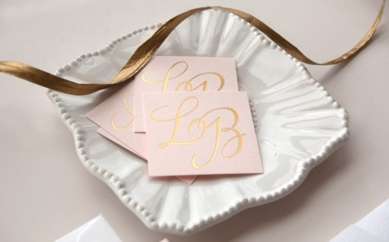 Pink Gold Foil Letterpress Wedding Invitations Daily Sip Studios9 550x343 Lindsey + Bradleys Elegant Pink and Gold Foil Wedding Invitations