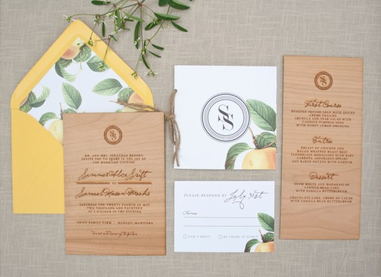 Wood Engraved Citrus Wedding Invitations Paper Airplanes 550x401 Elegant and Rustic Wood Engraved Wedding Invitations