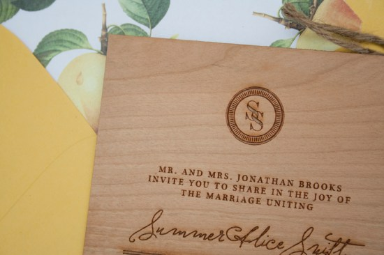 Wood Engraved Citrus Wedding Invitations Paper Airplanes5 550x366 Elegant and Rustic Wood Engraved Wedding Invitations