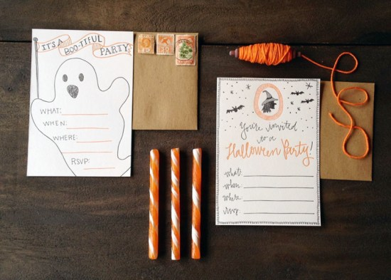 Halloween Party Invitations 9th Letter Press2 550x393 Letterpress Halloween Party Invitations
