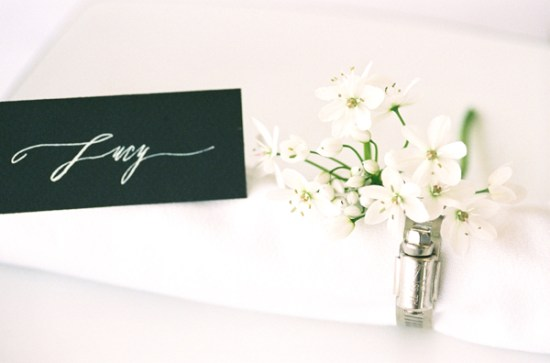 Black Calligraphed Place Cards Betsy Dunlap Jen Curtis 550x363 Wedding Stationery Inspiration: White on Black
