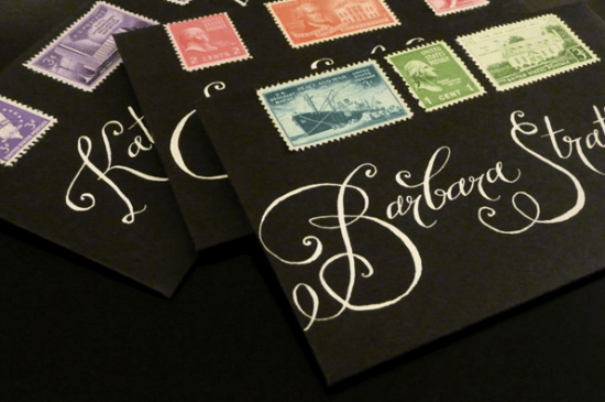 Black Calligraphed Wedding Place Cards Plurabelle 550x365 Wedding Stationery Inspiration: White on Black