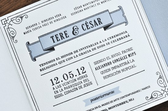 Blue Gray 1920s Letterpress Wedding Invitations Tere Hinojosa Creative4 550x365 Tere + Césars 1920s Inspired Letterpress Wedding Invitations
