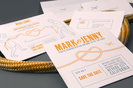 Letterpress Wedding Invitations Clutch Design3 550x366 Jenny + Marks Tie the Knot Letterpress Wedding Invitations