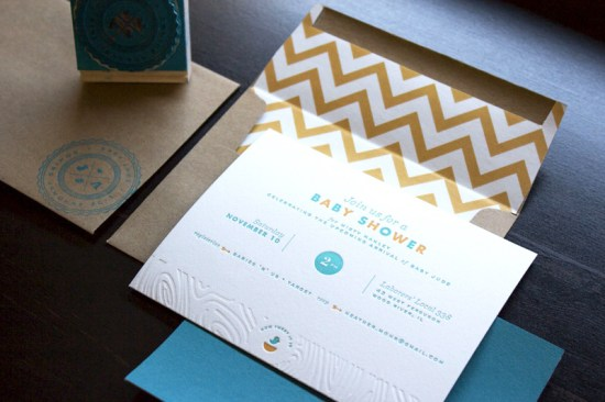 Modern Letterpress Baby Shower Invitations Misty Manley 550x366 Mistys Modern + Rustic Baby Shower Invitations