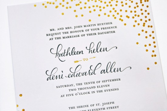 Navy Gold Foil Calligraphy Wedding Invitations Plurabelle Calligraphy Kate Allen4 550x366 Navy + Gold Foil Calligraphy Wedding Invitations