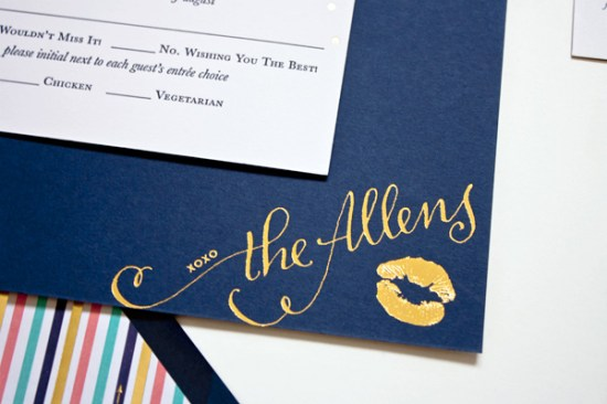 Navy Gold Foil Calligraphy Wedding Invitations Plurabelle Calligraphy Kate Allen6 550x366 Navy + Gold Foil Calligraphy Wedding Invitations