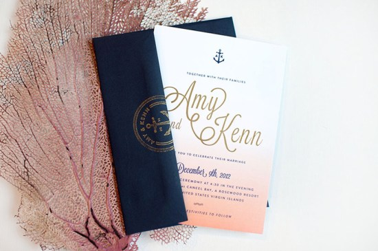 Ombre Gold Foil Nautical Wedding Invitations Carina Skrobecki Design2 550x365 Amy + Kenns Ombre and Gold Foil Nautical Wedding Invitations