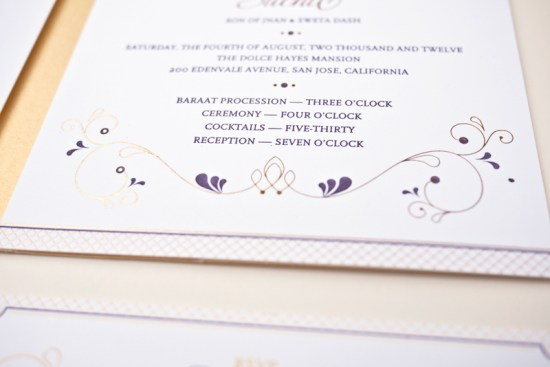 Purple Gold Foil Indian Wedding Invitations Rashi Birla5 550x367 Anjali + Suchits Elegant Gold Foil Hindu Wedding Invitations