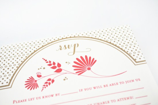 Red Gold Letterpress Wedding Invitations Rashi Birla6 550x367 Amritha + Joshs Red and Gold Letterpress Wedding Invitations