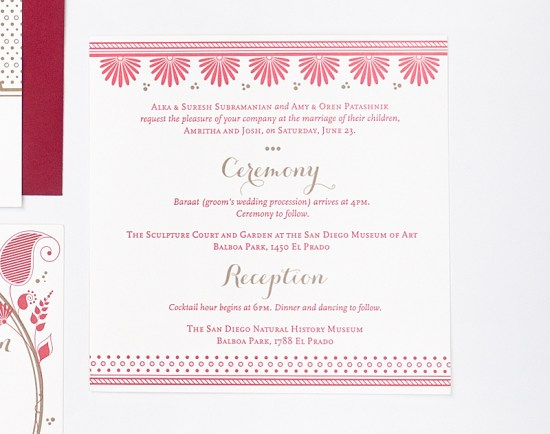 Red Gold Letterpress Wedding Invitations Rashi Birla8 550x434 Amritha + Joshs Red and Gold Letterpress Wedding Invitations