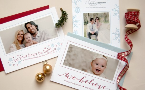 Daily Sip Studios Letterpress Holiday Photo Cards 550x343 Seasonal Stationery: Holiday Photo Cards