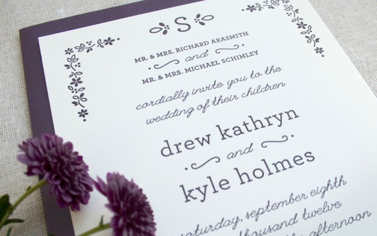 Fall Letterpress Wedding Invitations Arbor Corner Studio3 550x345 Drew + Kyles Floral Fall Wedding Invitations
