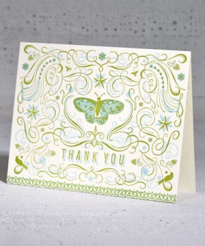 Hammerpress Butterfly Thanks Card 300x360 Stationery A – Z: Thank You Cards