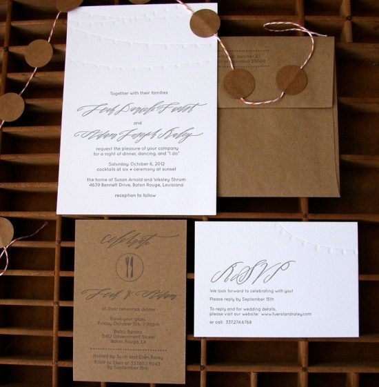 Kraft Paper Calligraphy Wedding Invitation Blackbird Letterpress6 550x561 Leah + Adams Calligraphy and Kraft Paper Wedding Invitations