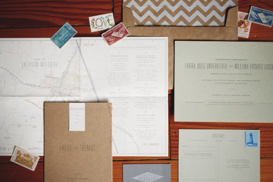 Modern Kraft Paper Chevron Wedding Invitations 550x366 Laura + Thomass Modern Kraft and Chevron Stripe Wedding Invitations