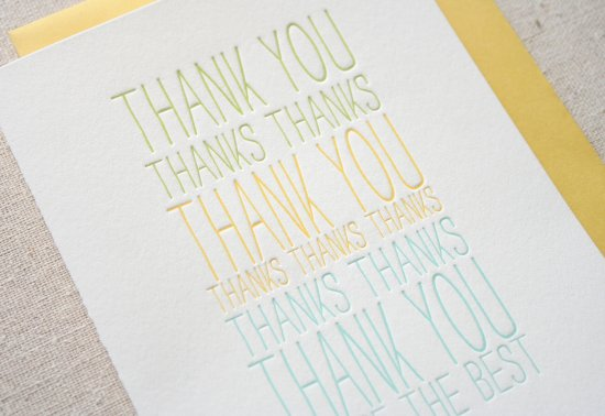 The Best Letterpress card 550x378 Stationery A – Z: Thank You Cards