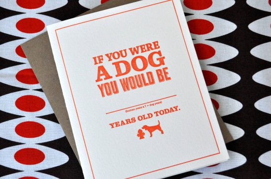 dog years birthday 550x365 Stationery A – Z: Snarky Birthday Cards