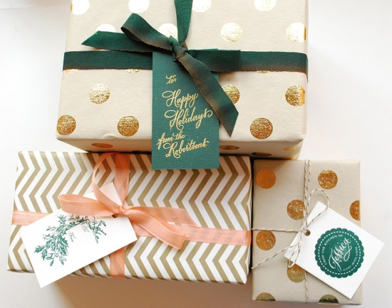 gifts 550x433 DIY Tutorial: Festive Wrapping with Holiday Gift Tags