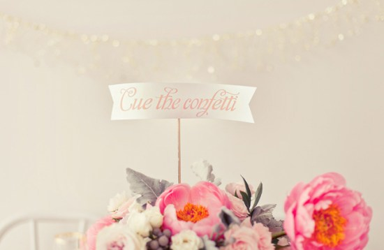 Confetti Sign Southern Fried Paper Nbarett Photography 550x358 Wedding Stationery Inspiration: Confetti