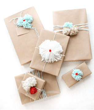 Glitter Pom Pom Gift Toppers Sugar and Cloth 300x349 DIY Holiday Gift Wrap Ideas
