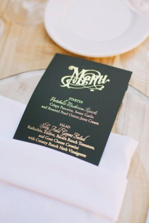 Gold Foil Menu Copper Willow Paper Studio Christine Farah Photography 300x450 Wedding Stationery Inspiration: Silver + Gold