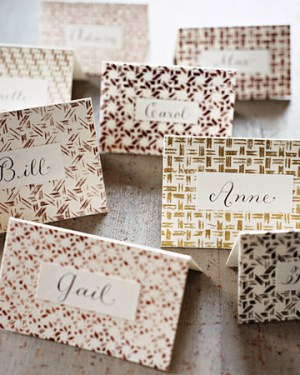 Gold Stamped Place Cards Martha Stewart 300x375 Wedding Stationery Inspiration: Silver + Gold