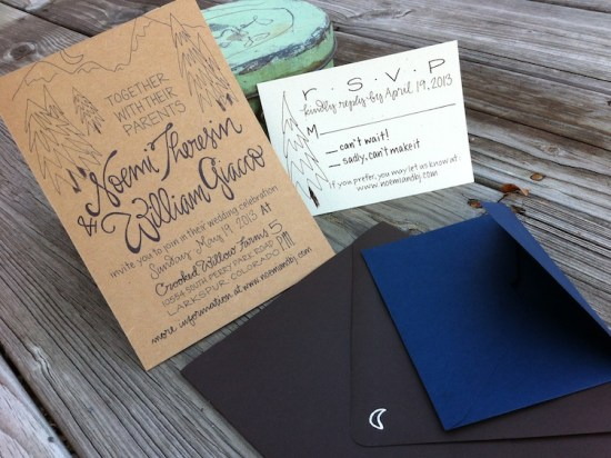 Hand Lettered Kraft Paper Wedding Invitations Grey Snail Press6 550x412 Noemi + BJs Hand Lettered Kraft Paper Wedding Invitations