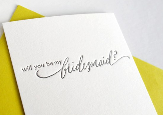Kristen Henderson Calligraphy Bridesmaid Card 550x388 Stationery A – Z: Bridesmaid and Maid of Honor Cards