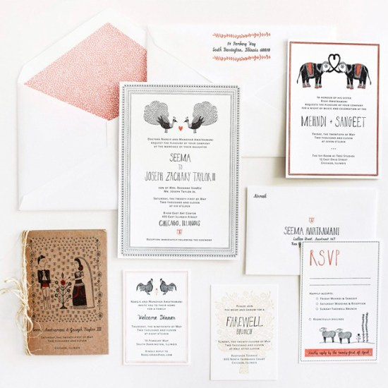 LOUIE Winner Invitation Suite Mr Boddington Studio21 550x550 Seema + Josephs Whimsical Illustrated Wedding Invitations