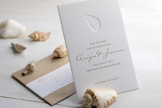 Modern Chevron Stripe Letterpress Wedding Invitation Meticulous Ink 550x366 James + Arijas Modern Seaside Wedding Invitations